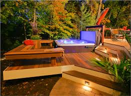 landscape lighting design ideas 1000 images. Square Hot Tub With Lighting Plus Brown Cover And U Shaped Outdoor Bench Also Patio Chair For Your Charming Backyard Landscape Design Ideas 1000 Images