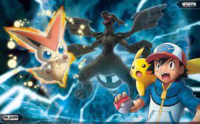 Ash, Pikachu, Victini, and Zekrom   Pokemon movies, Pokemon, Pokemon website