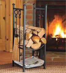 indoor firewood rack w fireplace tools log storage kindling hearth accessories