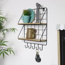 black wire metal wall shelves hook