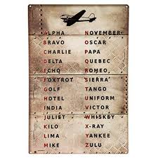Learn to spell your name in morse code and send sos. Pilot Code Aviation Metal Sign Phonetic Alphabet Alpha Bravo Charlie Buy Online In El Salvador At Elsalvador Desertcart Com Productid 51091940