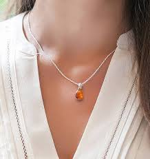 amber sterling silver pendant necklace tear drop small