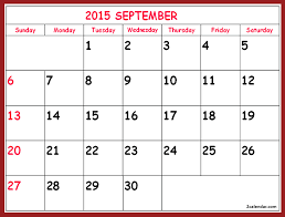 2015 Calendar Page September 2015 Printable Calendar Template In Page Calendar