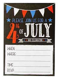 4th Of July Invitations 50 Pack Bbq Party Invitations Cards Patriotic Party Invitations Ideal For Picnic Family Reunion Bbq Party Supplies