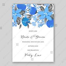 Wedding Invitation Card Template Blue Floral Vector Background Wedding Invitation Card Template