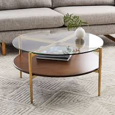 mid century art display round coffee table walnut