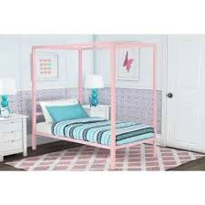 Twin Canopy Bed Metal Canopy Pink Twin Size Bed Frame Twin Wood ...