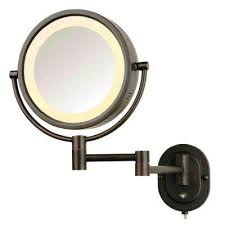 wall mounted magnifying mirror. 8 in. x round lighted wall mounted direct wired 5x magnification make magnifying mirror l