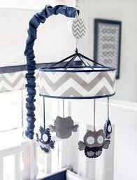 navy and gray owl crib mobile out of the blue baby bedding collection