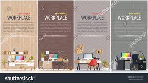 Interior Design Business Software Set Office Workplace Interior Designs Flat Stock Vector