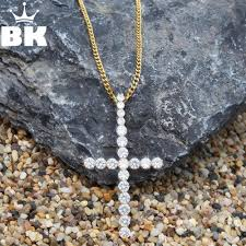 whole the bling king big round aaa cz cross hip hop pendant iced out cubic zirconia religious gold silver men hiphop jewelry birthstone pendant necklace