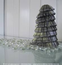 Silver Christmas Tree From Paper Clips Paper Plate And Plane