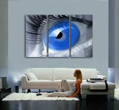 high quality modern abstract large grey black lash blue eyes closeup oil painting on canvas 3 piece set home wall art decor in painting calligraphy from