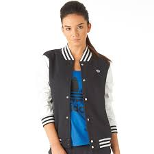 adidas originals womens city varsity jacket black white