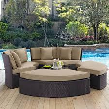 modway furniture convene circular outdoor patio daybed set in espresso mocha