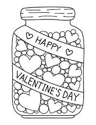 Candy Jar Coloring Page Valentines Day Valentines Day