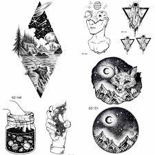 Yuran Diamond лесоматериалы черный горы Fox временные татуировки для мужчин стикеры тела