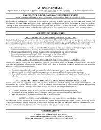 Car Sales Representative Sample Resume