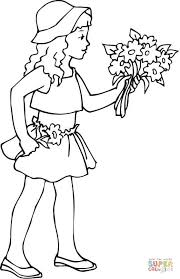 Small Picture A Girl Holding a Bouquet of Flowers coloring page Free Printable