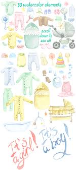 Baby Things Clipart Watercolor Baby Things Set