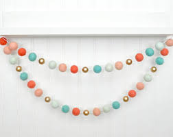 Mint and coral Teal Coral Mint And Gold Nursery Decor Coral Mint Nursery Coral Mint Gold Baby Shower Decor Coral And Gold Felt Ball Garland Pom Pom Garland Etsy Coral Mint Nursery Etsy