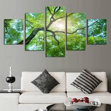 unframed 5 piece green trees modern home wall decor canvas