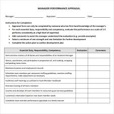 Restaurant Manager Review Forms Manager Evaluation 3 Free Download For Pdf