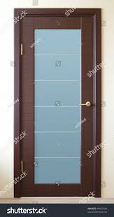a brown wooden door with a glass insert stock photo