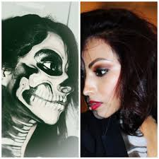 half face skull makeup half skull face makeup watch me in hd you