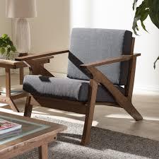 Living Room Lounge Chairs Baxton Studio Cayla Mid Century Modern Grey Fabric And Walnut
