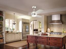 Awesome Ceiling Fan By Kichler Lighting On White Ceiling Plus Kitchen  Island On Wooden Floor For