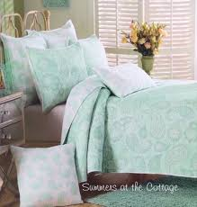 mint green sea glass paisley flowers shabby cottage beach chic queen quilt set