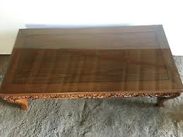 thai teak carved coffee table glass top
