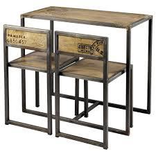 Tavolo per sala da pranzo 2 sedie in mango e metallo l 90 cm