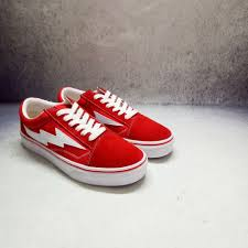Revenge X Storm Co Branded Lightning Canvas Shoes Red And