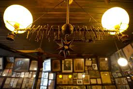 the freshly dusted gas lamp over the bar at mcsorley s old ale house in the east village it is said that the wishbones were hung there by world war i