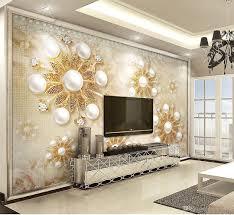 Großhandel Benutzerdefinierte Tapete 3d Luxus Gold Stil Perle Spitze