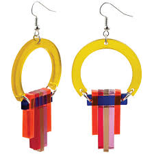 toolally statement earrings art deco chandeliers citrus yellow