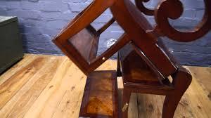 gany burr walnut library step ladder chair