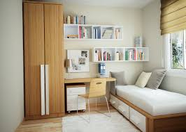 Small Bedroom Chest Bedroom White Brown Modern Storage Bed Grey Pillow Wooden Desk