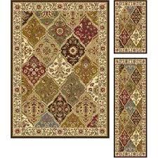 3 piece area rug set elegance multi 5 ft x 7 ft 3 piece rug set