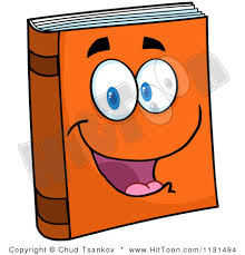 1131494 cartoon of a happy orange book mascot royalty free vector clipart 1