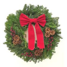 Unbranded 22 in. Fraser Fir Christmas Wreath with Red Bow-1000993709 - The  Home Depot