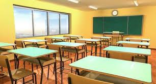school desk in classroom. Beautiful School Empty Classroom With Chalkboard Chairs And School Desk Stock Photo   82245967 With School Desk In Classroom