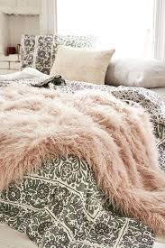 faux fur pink sheepskin rug bedroom decor pillows light