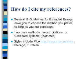 references bibliography for the ib extended essay ppt how do i cite my references