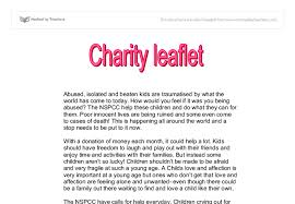 charity leaflet gcse english marked by teachers com document image preview