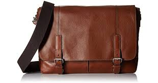 fossil graham east west leather cognac messenger bag cognac in brown for men lyst