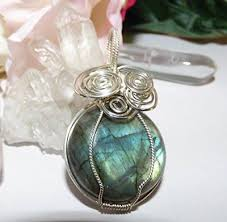 Wire wrapped recycled glass pendant Look Labradorite Colors Of The Rainbow Pendant Handcrafted Sterling Silver Wire Wrap Texas Artisan Handcrafted Recycled Glass Sterling Silver Wire Wrap Swarovski