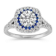 diamond and sapphire enement ring with pave setting